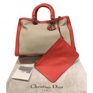Dior Canvas Leather Trimmed Diorissimo Tote Bag
