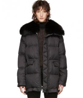 Yves Salomon Army Black Ultra Light Down Puffer Jacket