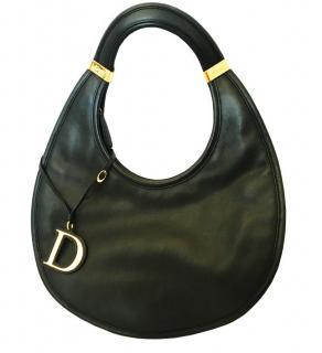 Dior Vintage Black Leather Diorita Hobo Bag