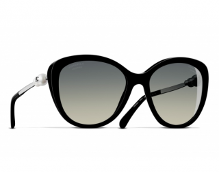 Chanel Faux Pearl Embellished Black Sunglasses
