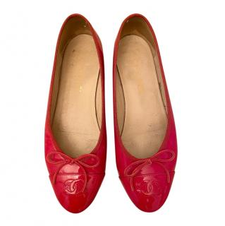 Chanel Red Patent Leather Ballerina Flats