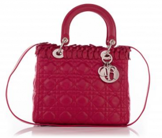 Dior Pink Lambskin Lady Dior Bow Medium Tote