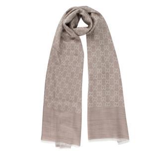 Gucci Beige Silk & Wool Blend GG Monogram Shawl