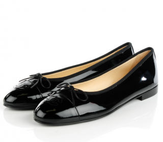 Chanel Black Patent Ballerinas