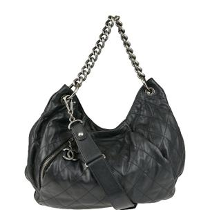 Black Quilted Calfskin Leather Coco Pleats Large Hobo Bag