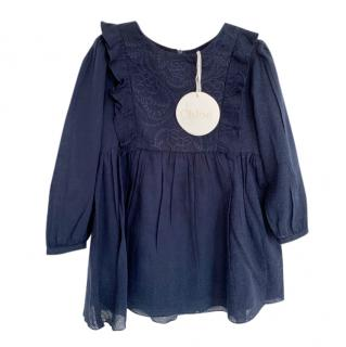 Chloe Blue Embroidered Girls 4Y Dress