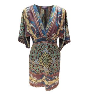 Hale Bob Printed Stretch Silk Kimono Dress