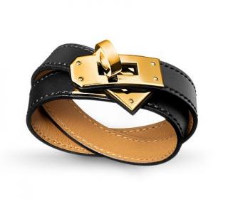 Hermes Black Double Tour Kelly Bracelet GHW
