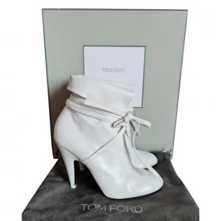 Tom Ford White Ankle Wrap Nappa Boots