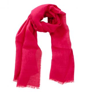 Etro Pink Paisley Linen & Cotton Scarf