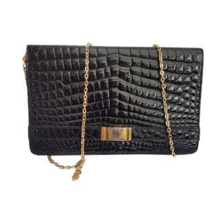 Dior Black VIntage Shiny Crocodile Flap Bag