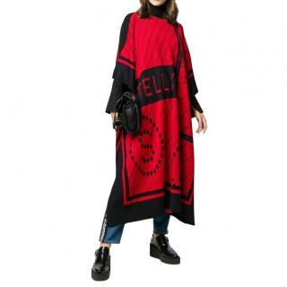 Stella McCartney Red & Black Monogram Wool Blend Cape