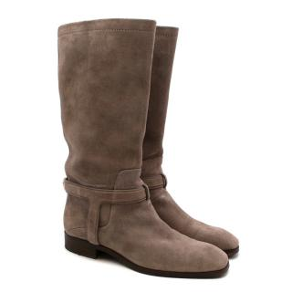 Christian Dior Greige Suede Harness Flat Boots