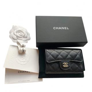 Chanel Black Caviar Calfskin Compact Flap Wallet