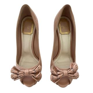 Dior Pale Pink Cannage Leather Open Toe Bow Pumps