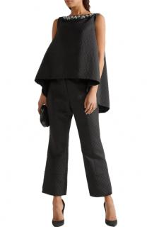 Erdem Black Joelle Embellished Jacquard Swing Top