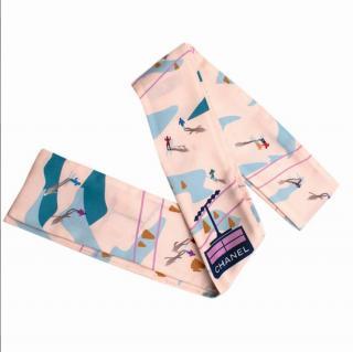 Chanel Pink & Blue Ski Print Silk Bandeau