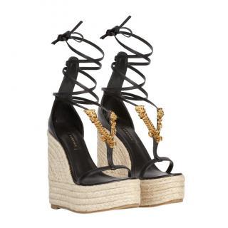 Versace Black Leather Virtus Wedge Espadrille Sandals