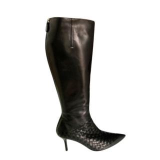 Bottega Veneta Smooth & Intrecciato Leather Knee Boots