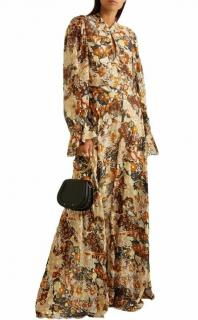 Chloe Floral Fil-Coupe Ruffled Runway Gown