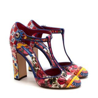 Dolce Gabbana Patent Leather Patchwork Di Sicilia T Strap Pumps