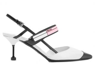 Prada White Logo Print Slingback Sandals