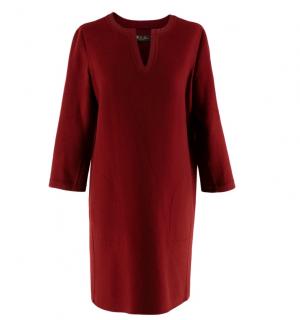 Loro Piana Burgundy Cashmere Long Sleeve Dress
