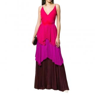 Givenchy Colour Block Pleated Tiered Gown