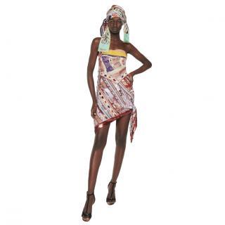 Emilio Pucci Scarf Tie Asymmetric Printed La Villa Mini Dress