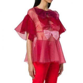 Dolce & Gabbana Pink Sheer Bow Applique Blouse