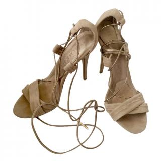 Burberry Beige Suede Lace-Up Sandals