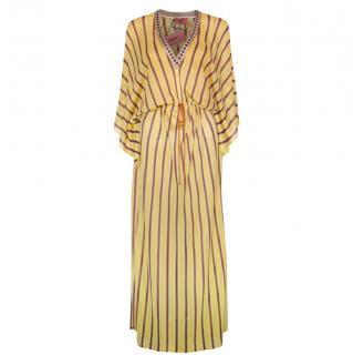 Missoni Mare Striped Yellow V-Neck Kaftan Dress