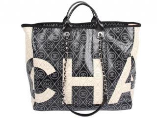 Chanel Coated Canvas Camellia Printed Deauville Bag