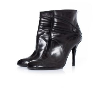 Dior black leather heeled ankle boots