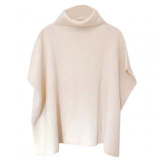 Valentino Cream Roll Neck Ribbed Lace Trim Poncho