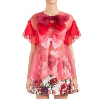 Dolce & Gabbana Ombre Organza Roseto Blouse