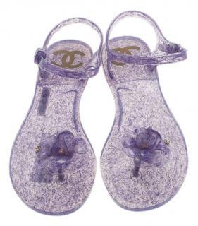Chanel Purple Glitter Camellia Thong Sandals