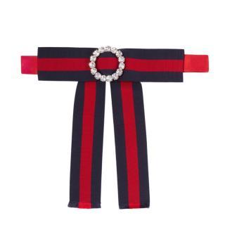 Gucci Web Stripe Crystal Bow Collar