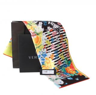 Versace Floral Multi Print Silk Scarf