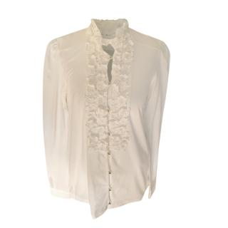 Chloe white Cotton Jersey Embroidered Floral Blouse