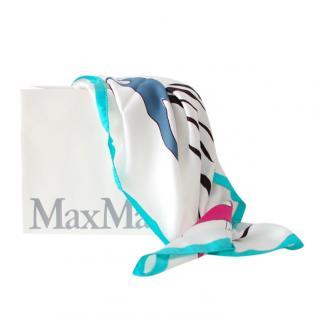 Max Mara White Printed Silk Scarf
