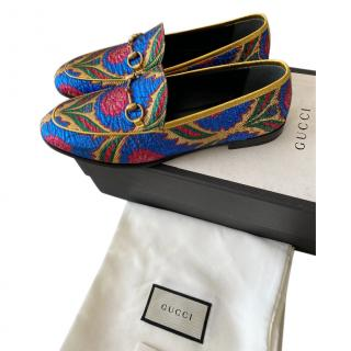 Gucci Blue & Gold Jacquard Loafers