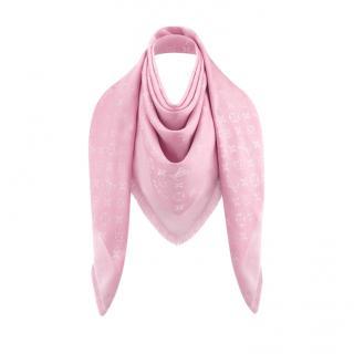 Louis Vuitton Rose Ballerine Silk & Wool Blend Monogram Shawl