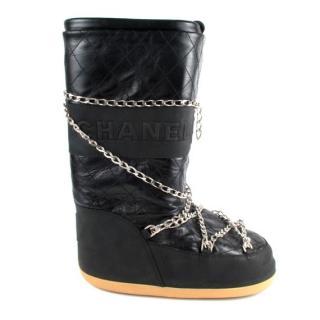 Chanel Black Leather Chain Trim Ski Moon Boots