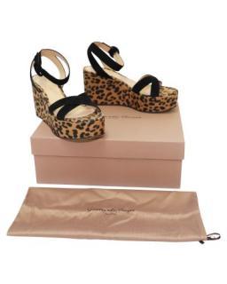 Gianvito Rossi Leopard Print Leo Suede Wedge Sandals