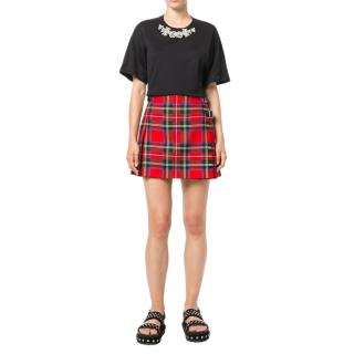 Christopher Kane Red Tartan Wool Pleated Mini Kilt
