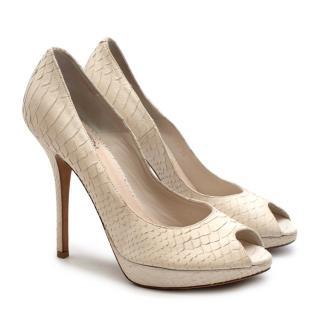 Christian Dior White Python Peep Toe Platform Pumps