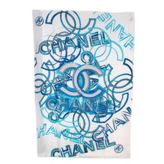 Chanel White & Blue CC Print Silk Stole