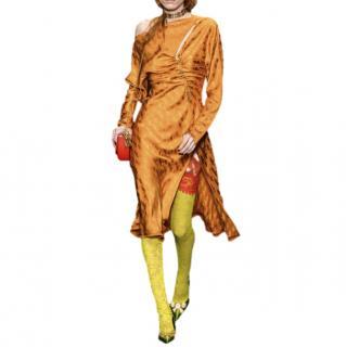 Versace Orange Runway Chain Detail Asymmetric Dress