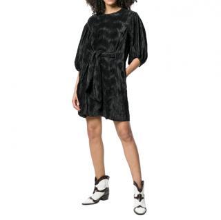 Ganni Black Pleated Tie Waist Mini Dress